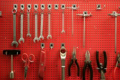 organized tool storage in a garage workshop